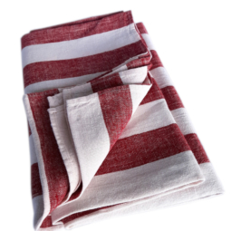 Image of a folded linen Beach and Picnic towel in cherry white striped.
