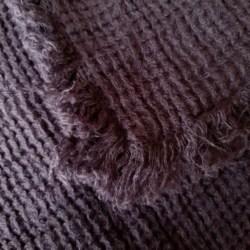 Linen Waffle Throw Blanket With Fringe – Grey