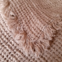 Linen Waffle Throw Blanket With Fringe – Natural