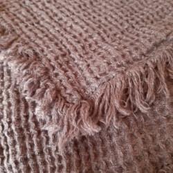 Linen Waffle Throw Blanket With Fringe – Steel Grey