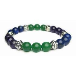 Crystal Gemstone Bracelet – Handcrafted – Natural Amethyst, Aventurine and Lapis Lazuli 8 mm