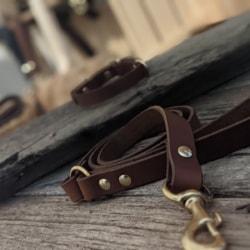Australian leather Solid brass 1. 2m dog leash tan
