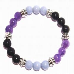 Crystal Gemstone Bracelet – Handcrafted – Natural Amethyst, Angelite and Black Obsidian 8mm