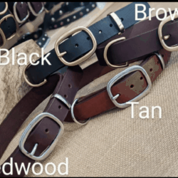 Australian leather traditional dog collars solid brass