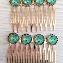 Elegant Green Peacock Feather Hair Combs / Hair Slides – Suits most hair types -Rose Gold – Sold in pairs #2