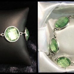 Pretty Antique Silver Faceted Green Bracelet – Gift Boxed