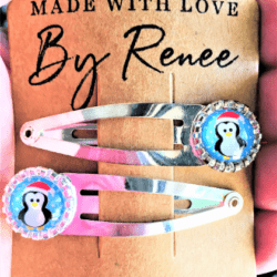 Cute Christmas Penguin Hairclips / Hair Grips – sold in pairs