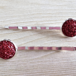 Pretty Red & Silver Hair Pins – sold in pairs