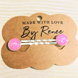 Pretty Pink Glitter Hair Pins – sold in pairs