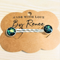 Striking Black with Green Glitter Hair Pins – silver – sold in pairs