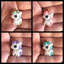Cute Unicorn / Pegasus with Golden Horn Brooches / Pins / Embellishments – 4 Colours