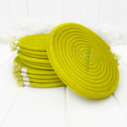 Hand dyed chartreuse colour coiled rope drink coasters, set of four, using Australian made rope