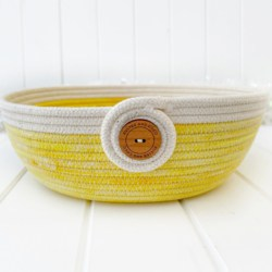 Two toned ice dyed yellow and and natural rope bowl, hand dyed coiled rope basket using Australian made rope