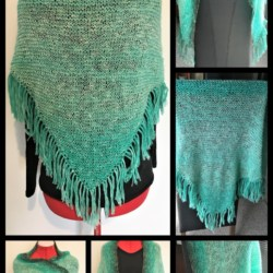 Soft Hand Knitted Shawl – Gradient Green Cotton and Acrylic Blend