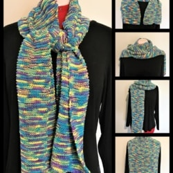 Bright Hand Knitted – Knit Unisex Scarf – Blue, Yellow & Purple – Acrylic Cotton Blend – Easy Care