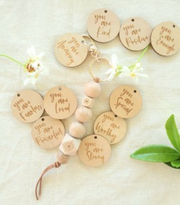 wooden affirmations, positive affirmations, wooden keyring, wooden keychain