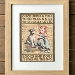 Vintage style print. Books and dogs