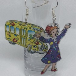 The Magic School Bus and Ms Frizzle Earrings