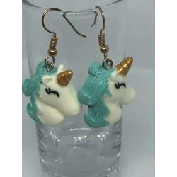 Green Unicorn Earrings
