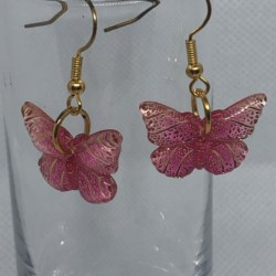 Pink and Gold Butterfly Earrings