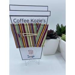 Coffee Kozie – Maroon vertical stripes