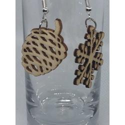 Wooden Snowflake and Acorn Earrings