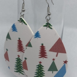 White Leather with Christmas Trees Earrings