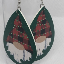 Green and Red Leather Knome Earrings