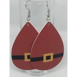 Red Leather Santa Earrings