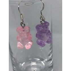 Pink and Purple Gummy Bears Earrings