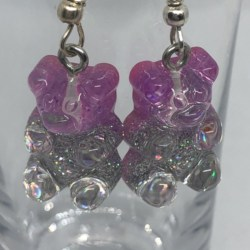 Sparkly Purple and Silver Gummy Bear Earrings