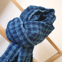 natural dyed indigo handwoven scarf