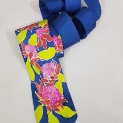 Handpainted silk tie – Waratahs