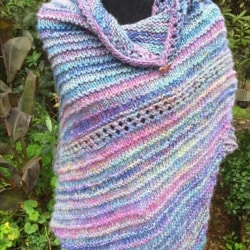 Handknitted wrap/ shawl in wool ,cotton and silk