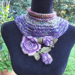 Soft wool and silk cowl in purples and greens with embroidered flower edge