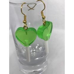 Green Heart Lollypop Earrings