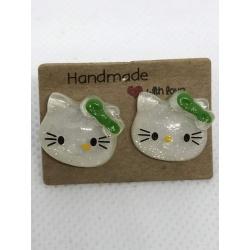 Green Hello Kitty Stud