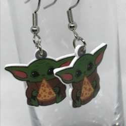 Baby Yoda with Pizza Earrings