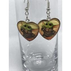 Heart shaped Baby Yoda Earrings