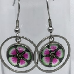 Pink and Green Flower Drops – Circle