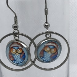 Blue Owl in Hat Drops – Circle