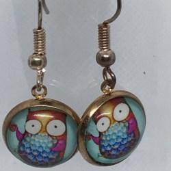 Pink and Orange Owl Earrings