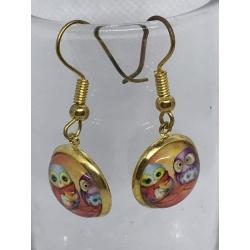 Blue and Purple Owl Earrings