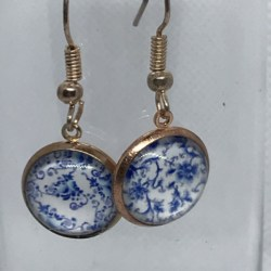 Gold Blue and White Floral Earrings