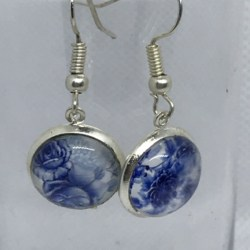 Silver Blue and White Floral Swirl Earrings