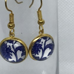 Blue and White Floral Earrings