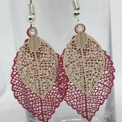 Double Leaf Filigree Earrings – Red and Beige