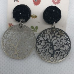 Silver Tree of Life Filigree with Black Studs