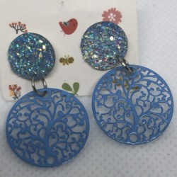Blue Tree of Life Filigree with Blue Studs