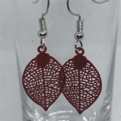 Red Filigree Leaf Earrings